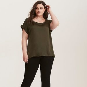 Torrid Green Knit To Woven Dolmon Blouse Size 1